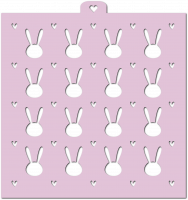 Stencil «Easter bunnies with hearts», 1 pc.