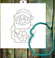 Трафарет+форма «Дедушка мороз с подарком»