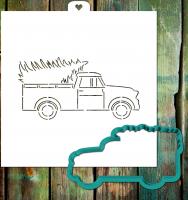 Трафарет+форма «Машина с рождественской ёлкой»