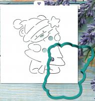 Трафарет+форма «Мишка тедди с елкой»