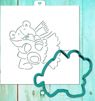 Cookie cutter and stencil set «Teddy bear with Christmas tree 2»
