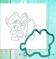 Трафарет+форма «Мишка тедди с елкой 2»