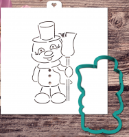 Cookie cutter and stencil set «Snowman with broom»