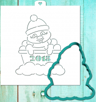 Cookie cutter and stencil set «Snowman 2018»