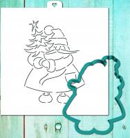 Трафарет+форма «Дед мороз с новогодней елкой»