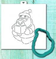 Трафарет+форма «Дед мороз с подарком»