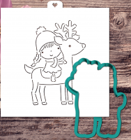 Cookie cutter and stencil set «Girl sitting on deer»