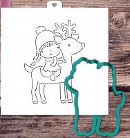 Трафарет+форма «Девочка сидит на олене»