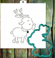 Трафарет+форма «Рождественский олененок»