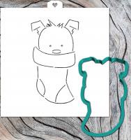 Трафарет+форма «Собачка в рождественском чулке. Год собаки»