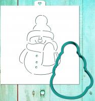 Трафарет+форма «Снеговик модный»