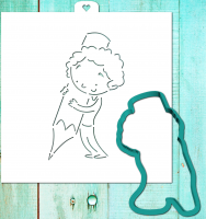Трафарет+форма «Мальчик рисует карандашом»