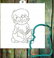 Трафарет+форма «Мальчик читает книгу»