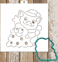 Cookie Cutter+Stencil «Pig with Christmas tree»