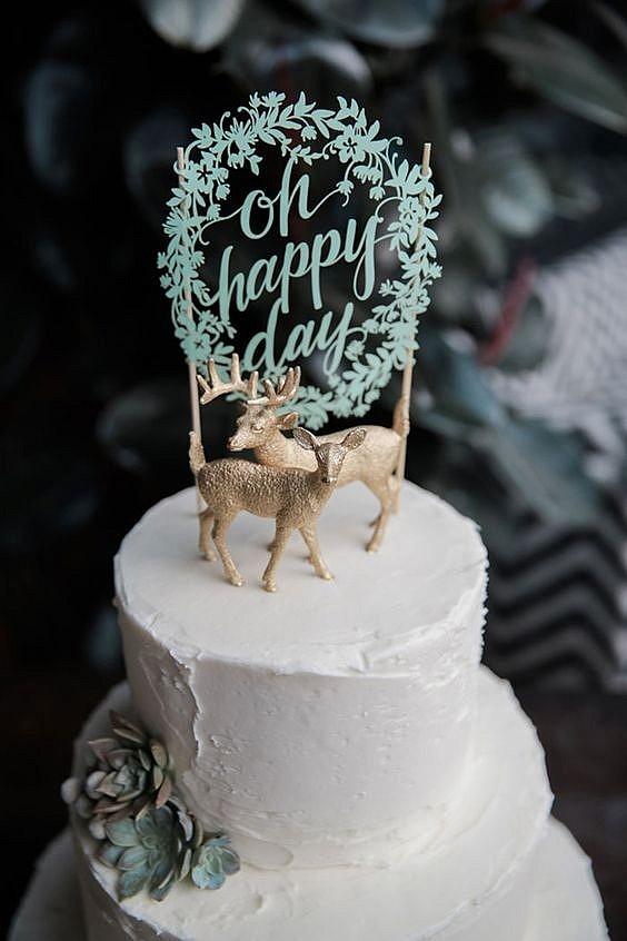 Топпер на торт с фигурками оленей и надписью