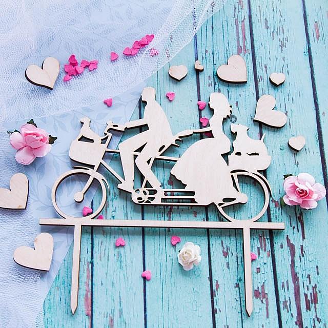 """Топпер для торта """"Пара на велосипеде"""""""