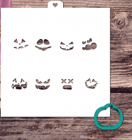 Cookie Cutter+Stencil «Pumpkin with faces»