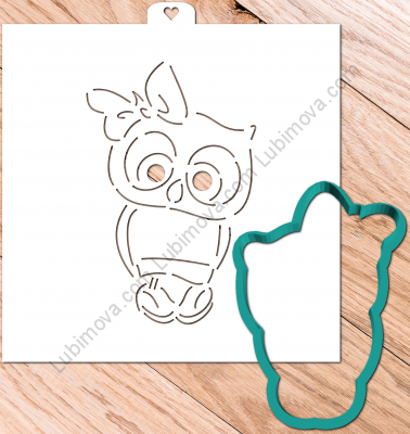 "Cookie Cutter+Stencil  ""Owl with bow"".  Трафарет+форма ""Совенок с бантом"""