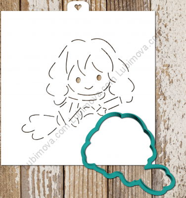 Cookie Cutter+Stencil  «Harry Potter.Hermione» Трафарет+форма «Гарри Поттер. Гермиона»