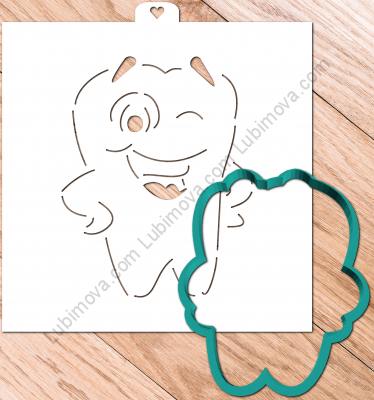 "Cookie Cutter+Stencil  ""Tooth 2"".  Трафарет+форма ""Зубик 2"""
