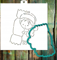 Cookie cutter and stencil set «Girl with candy»