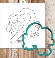 Cookie cutter and stencil set «Girl with Lollipop»