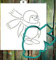 Cookie cutter and stencil set «Penguin with scarf»