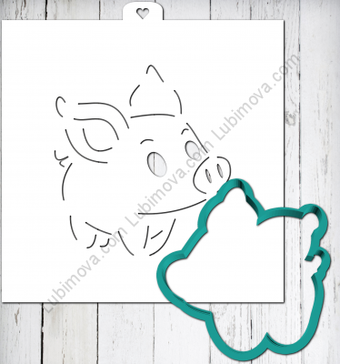 "Cookie Cutter+Stencil ""Piglet baby"" Трафарет+форма  ""Поросенок малыш"""
