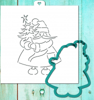 Cookie cutter and stencil set «Santa Claus with Christmas tree»