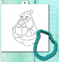 Cookie cutter and stencil set «Santa Claus with gift»