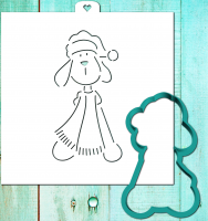 Cookie cutter and stencil set «Dog with scarf. The year of the dog»