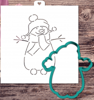 Cookie cutter and stencil set «Snowman fun»