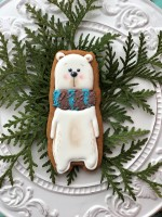 Cookie Cutter+Stencil «White bear with scarf»