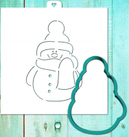 Cookie cutter and stencil set «Snowman fashion»