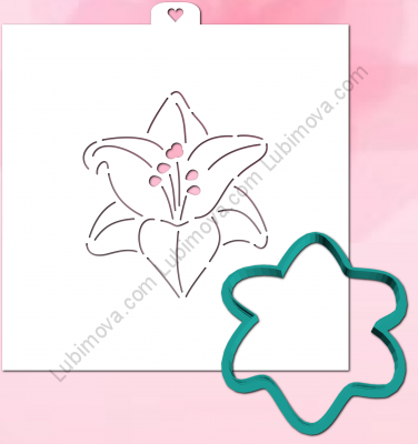"Cookie Cutter+Stencil  ""lily"".  Трафарет+форма  ""Лилия"""