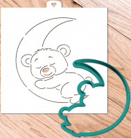 Cookie Cutter+Stencil  «Bear on the moon».