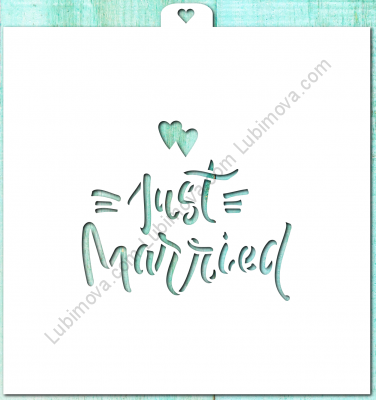 "Stencil ""Just Married 1"", 1 pc. Трафарет ""Just Married 1"""