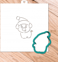 Cookie Cutter+Stencil «Pig with cap»