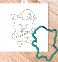 Cookie Cutter+Stencil «Pig elf with guitar»