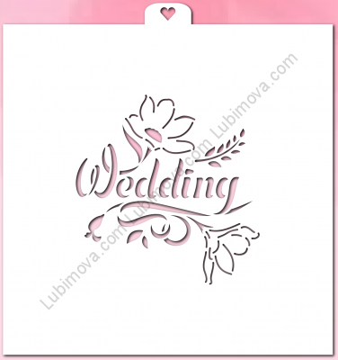 "Stencil ""Wedding with flowers"", 1 pc. Трафарет ""Wedding with flowers"""