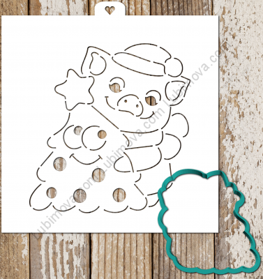 Cookie Cutter+Stencil «Pig with Christmas tree» Трафарет+форма «Свинка с елочкой»