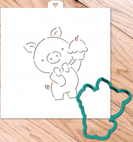 Cookie Cutter+Stencil «Pig with a muffin»